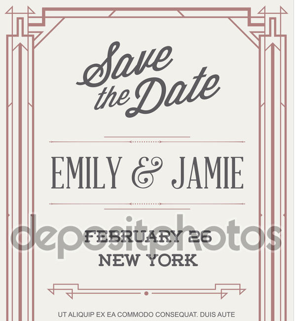 vintage art deco wedding invitation