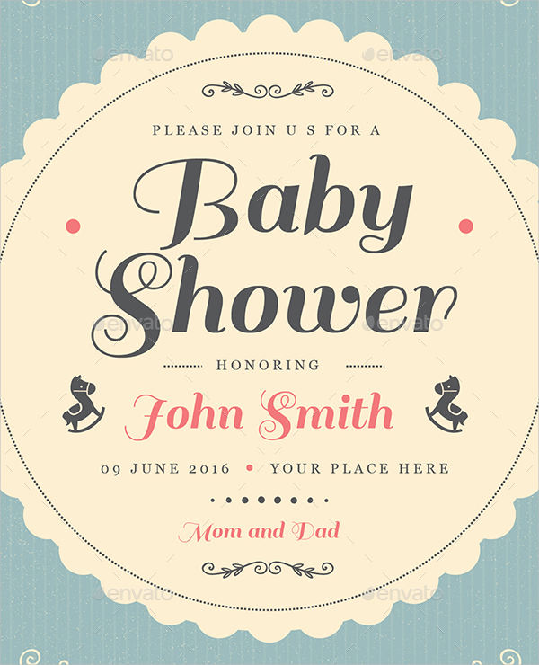 vintage baby shower invitation template