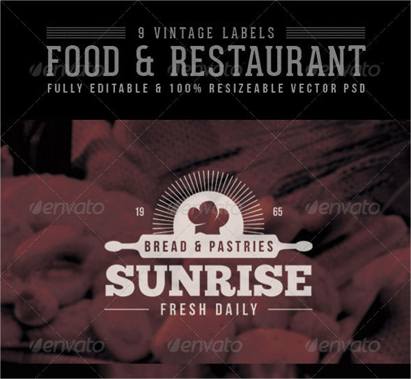 vintage food restaurant labels