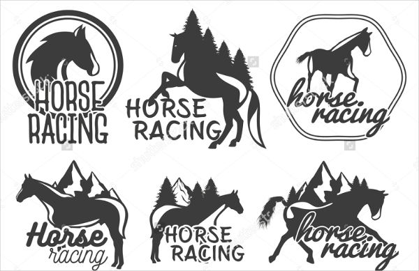 vintage logo horse badges set