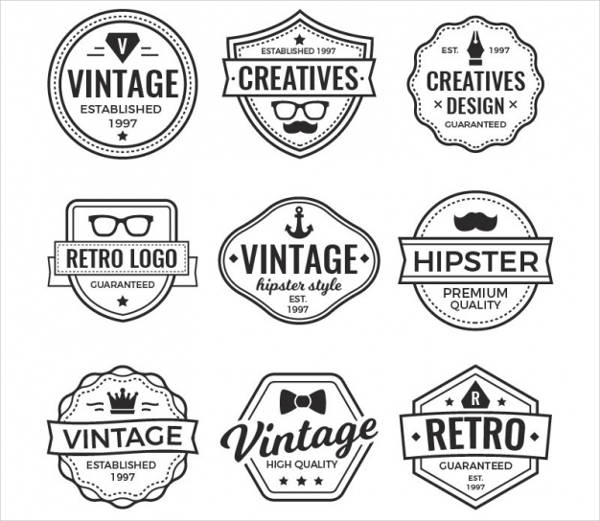 vintage name logo badges
