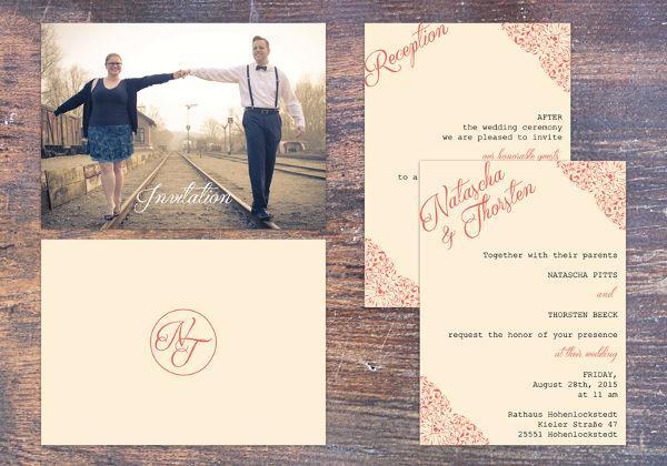 vintage photo wedding invitation