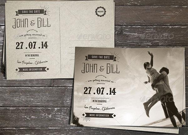 vintage postcard wedding invitation