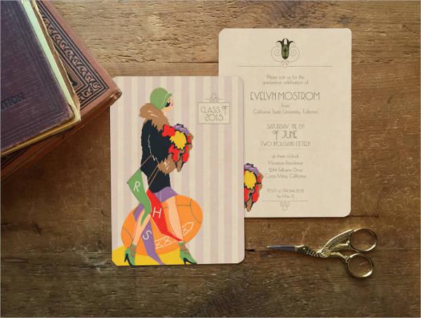 vintage style graduation invitation