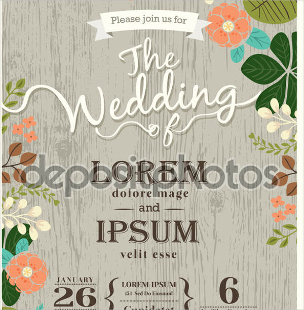 vintage wedding invitation template1