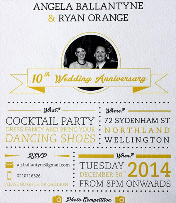 wedding anniversary party invitation templates