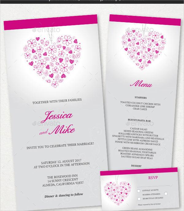 wedding menu card templates