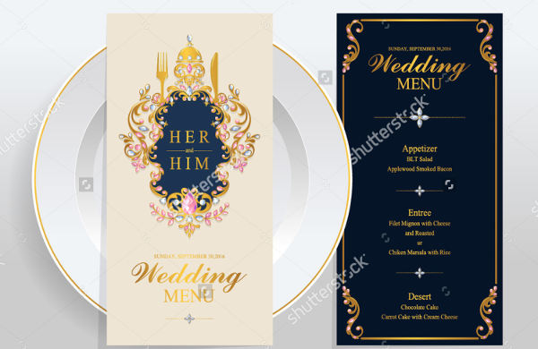 wedding menu design templates
