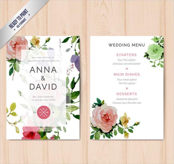 wedding reception menu template