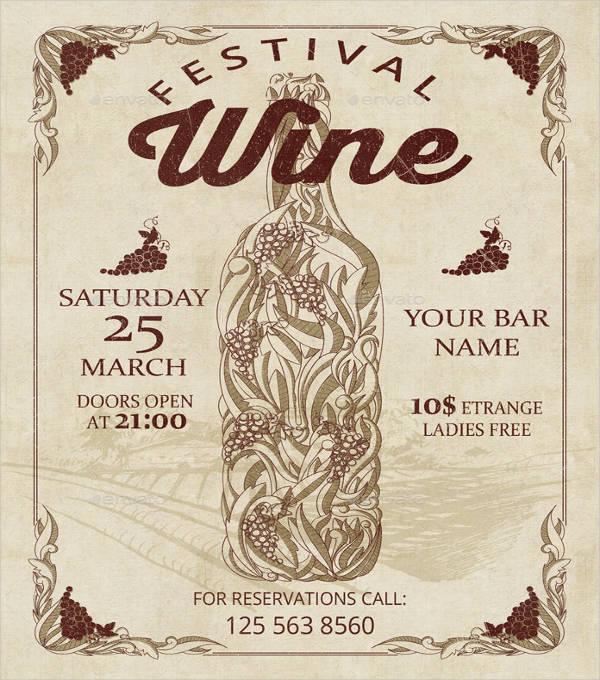 wine festival vintage flyer
