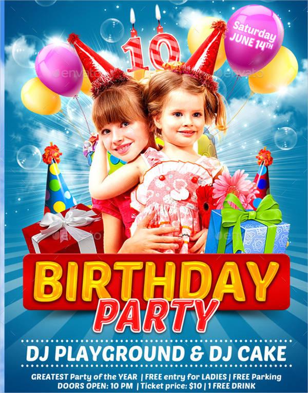 kids birthday party flyer1