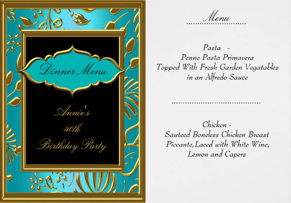 40th birthday party menu template2