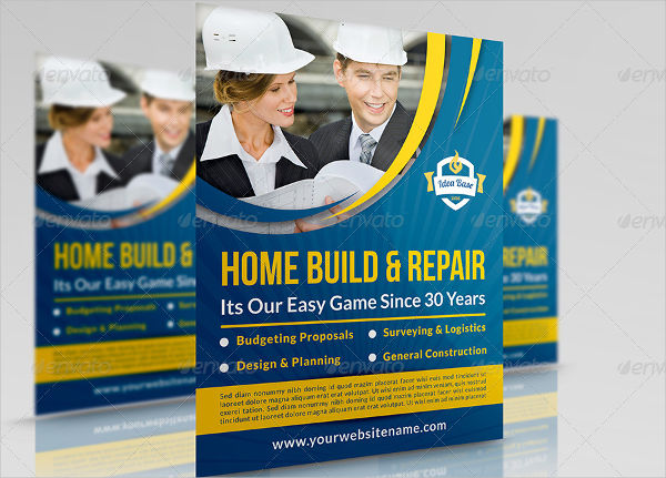 attractive construction business flyer