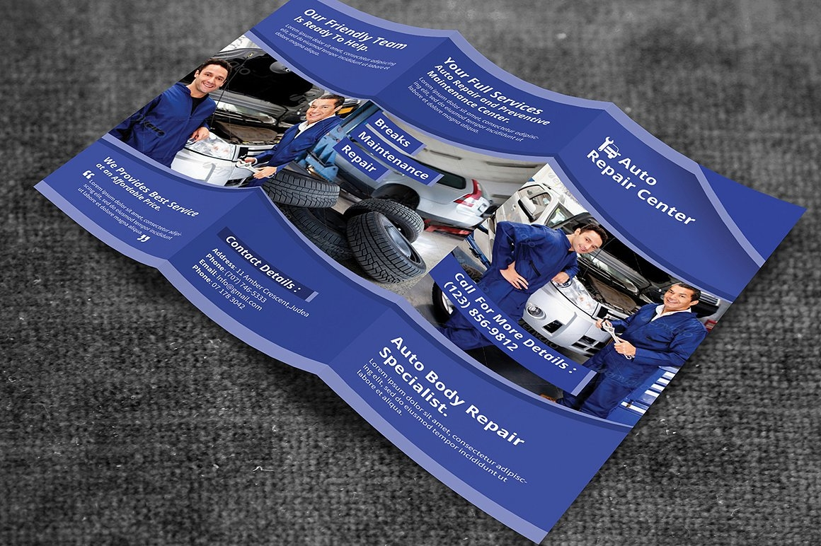 auto repair service bi fold brochure
