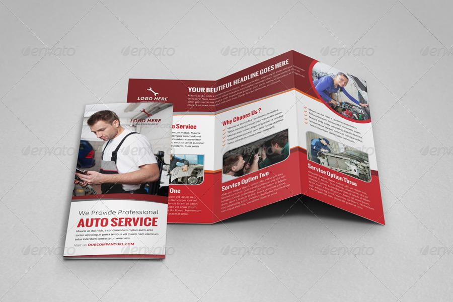 auto repair service tri fold brochure
