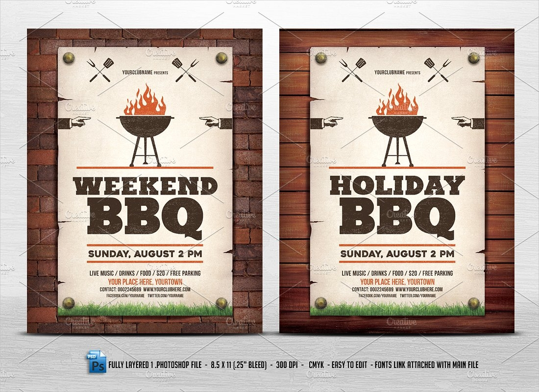 bbq holiday party invitation template