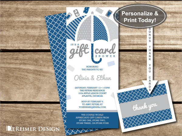 baby shower invitation gift card