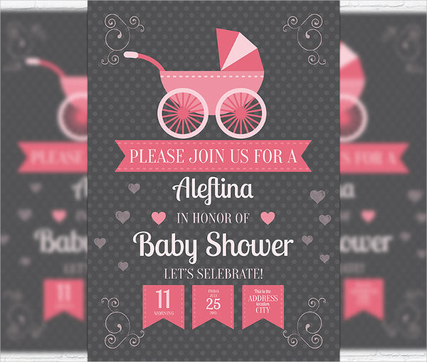 baby shower invitation psd flyer