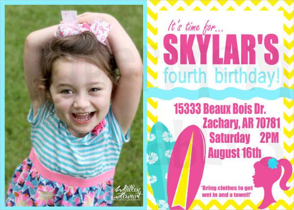 barbie beach party invitation