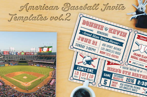 baseball party invitation ticket