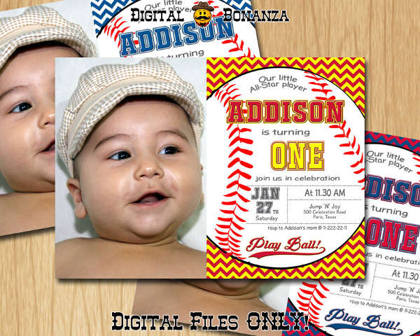 baseball photo birthday party invitation