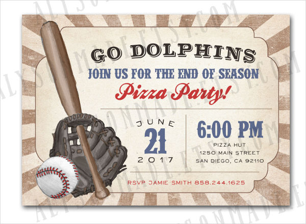 baseball team party invitation