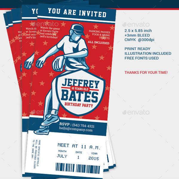 baseball theme party invitation