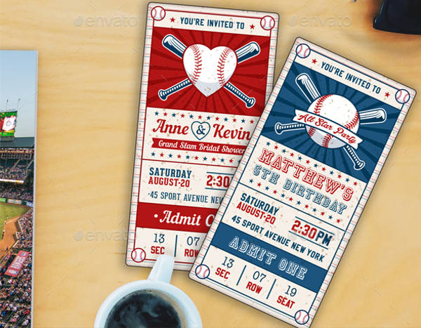 baseball ticket party invitation template