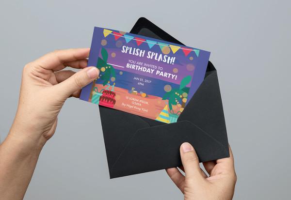 beach party invitation card template