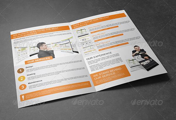 bi fold website design service brochure