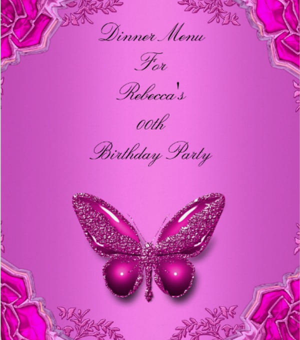 birthday dinner menu card