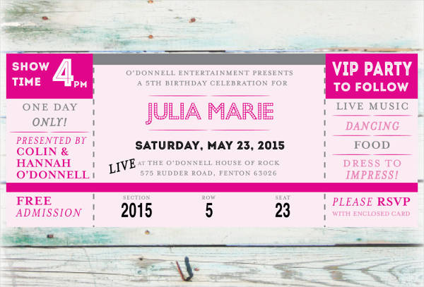Concert Ticket Birthday Invitation  Concert Ticket Template Free