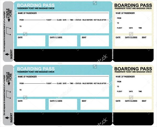 blank plane ticket