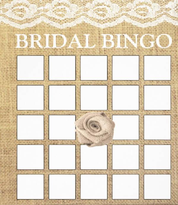 blank wedding bingo card