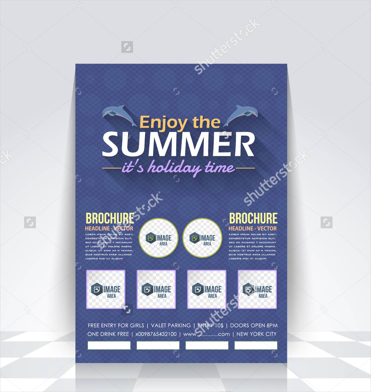 blue colored holiday brochure