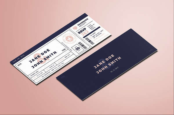 boarding pass wedding ticket