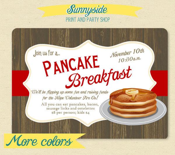 breakfast pancake party invitation