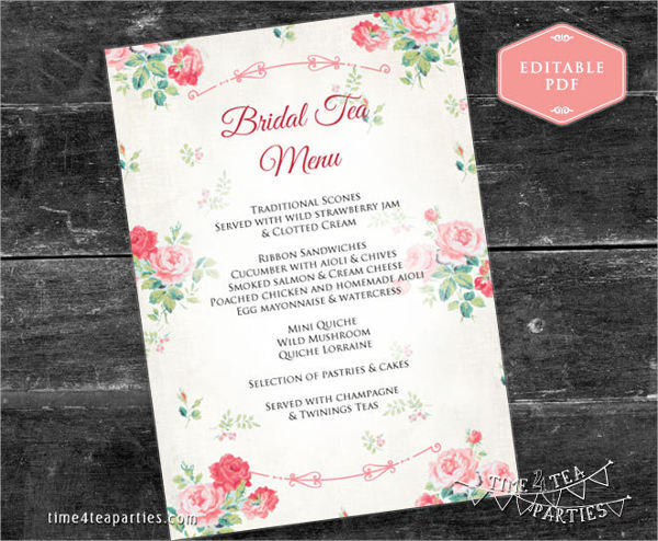 33 party menu templates for Tea party menu template