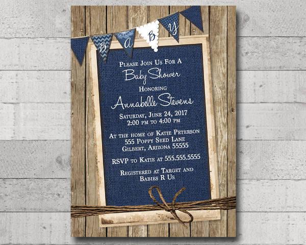 burlap baby shower invitation banner1