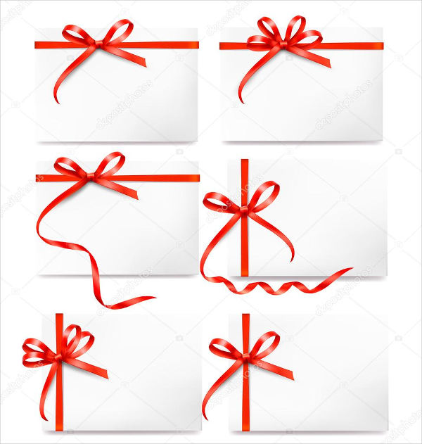 card note with red gift bows with ribbons