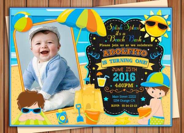 chalkboard beach party invitation