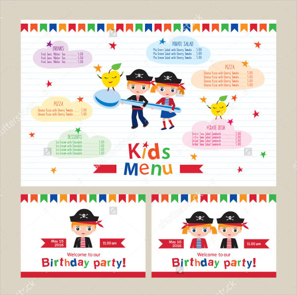 children's birthday event menu template