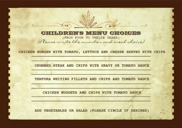 children's vintage party menu template