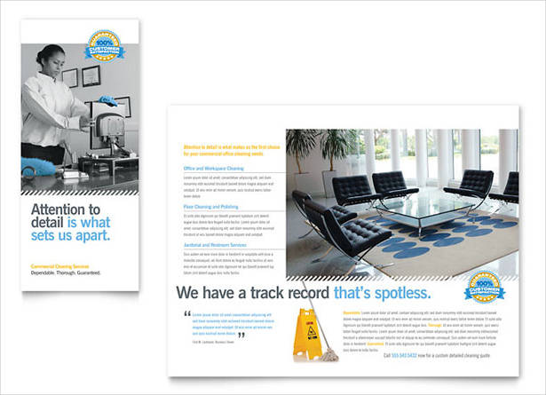 clean digital marketing trifold brochure