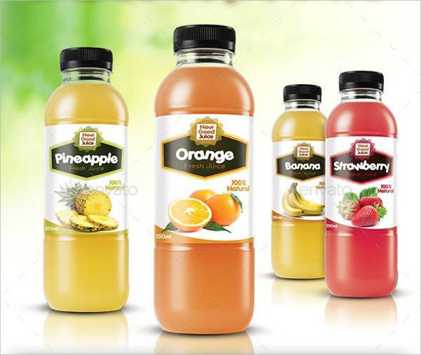 clear juice bottle label