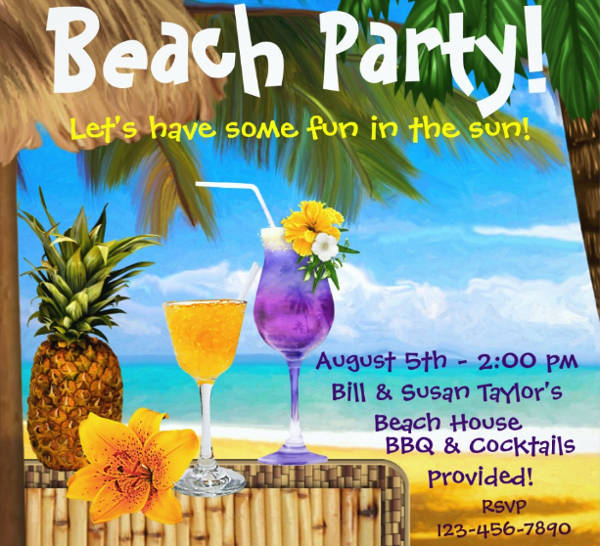 cocktail beach party invitation