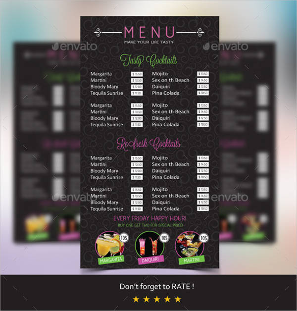 cocktail night party menu template