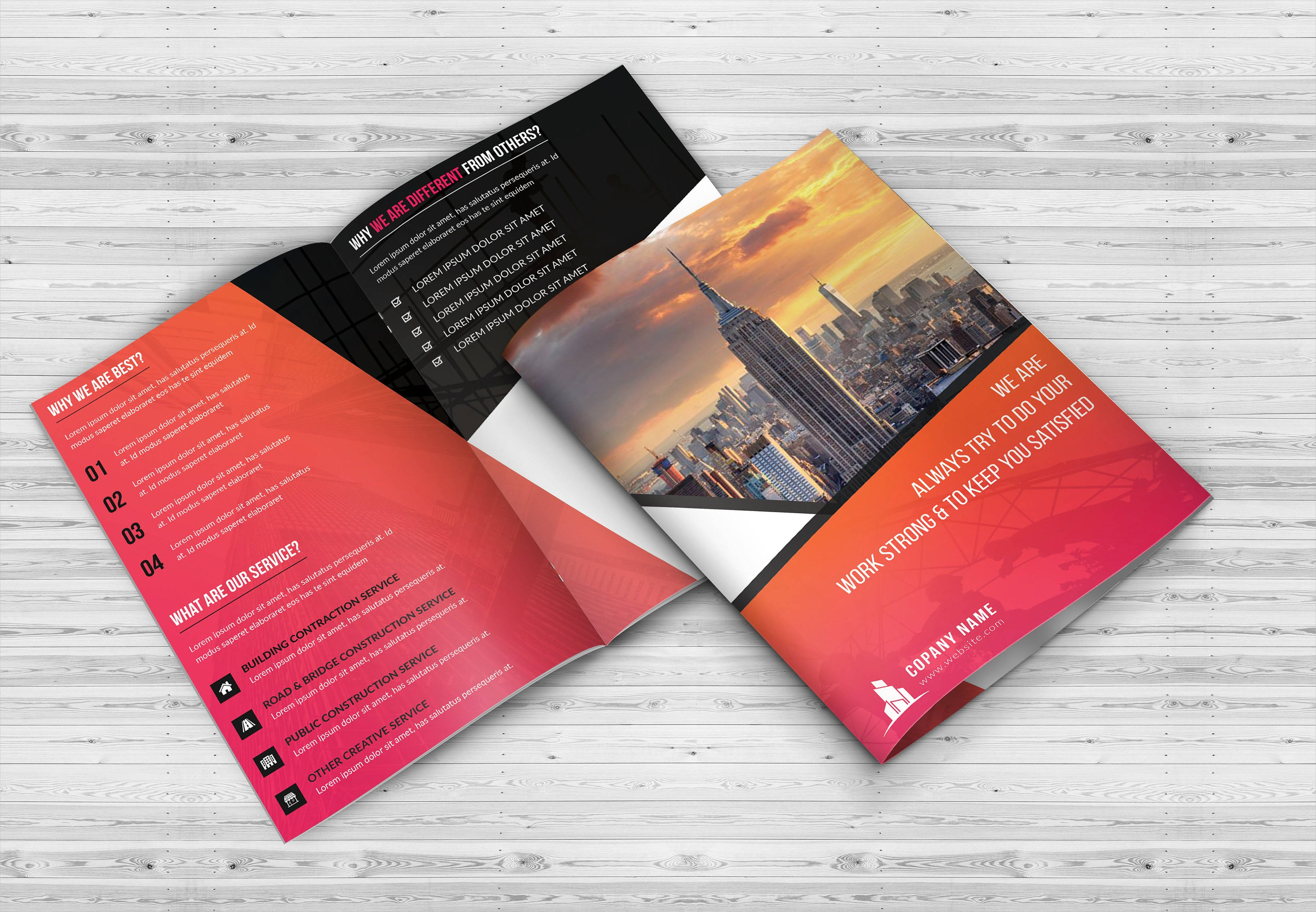 11 bi fold brochures psd png vector indd eps format for Fold out brochure template
