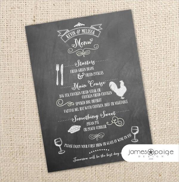 corporate event menu card