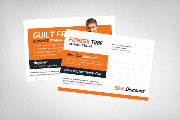 creative fitness advertising postcard